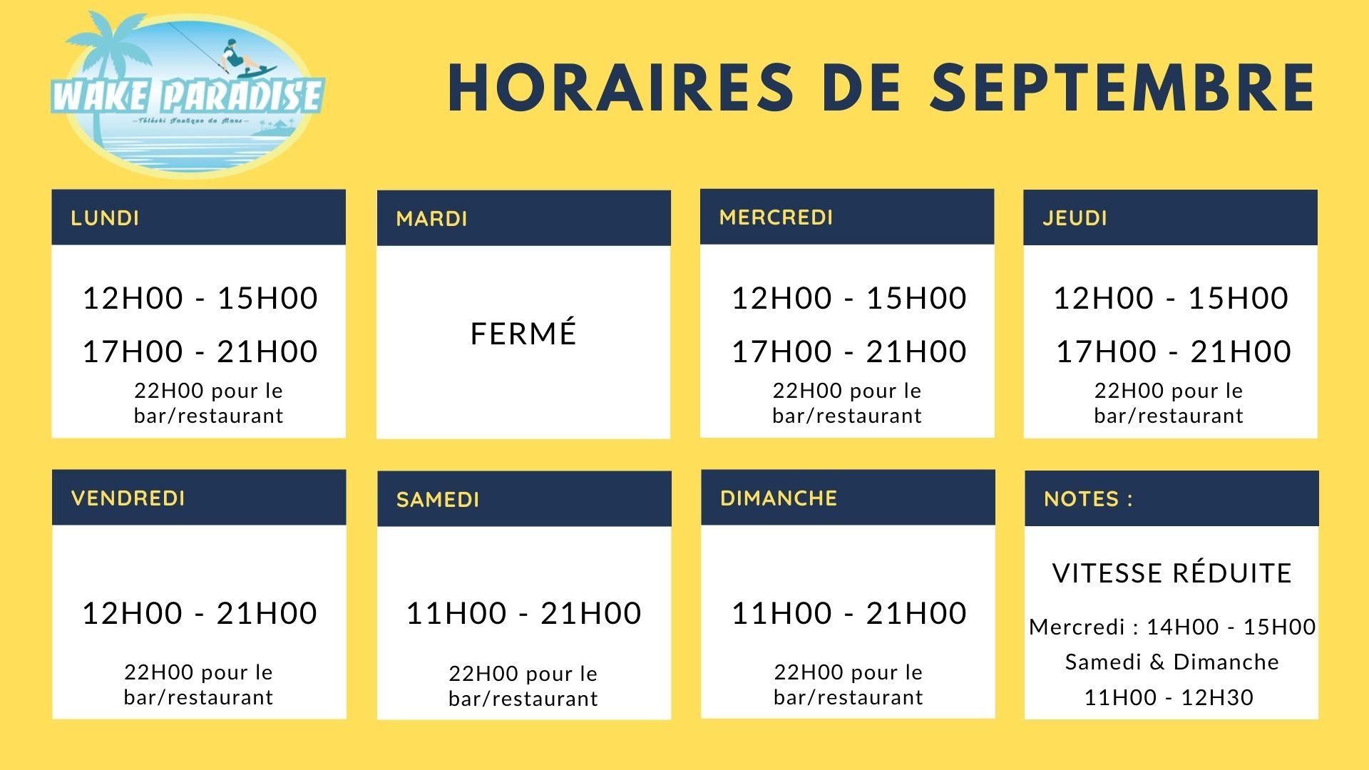 horaires septembre